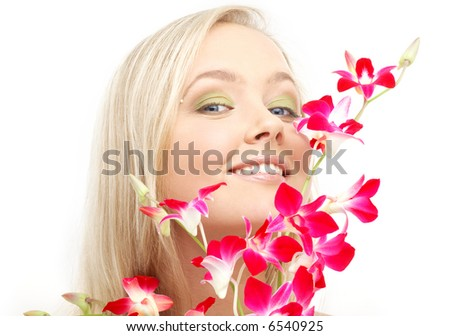 bright picture of lovely blond with orchid