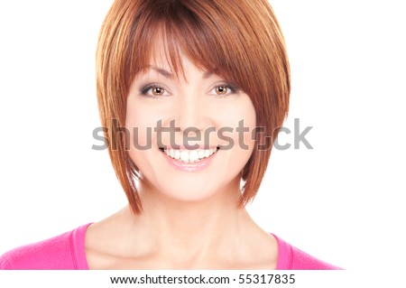 bright picture of lovely businesswoman over white - stock photo