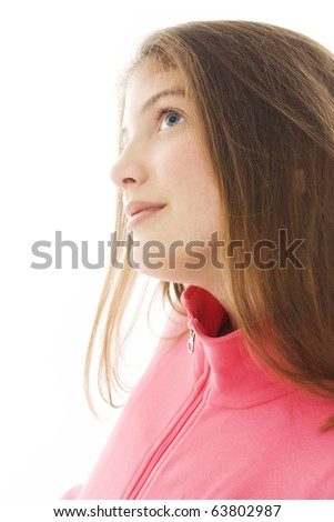 Bright picture of lovely girl. profile - stock photo