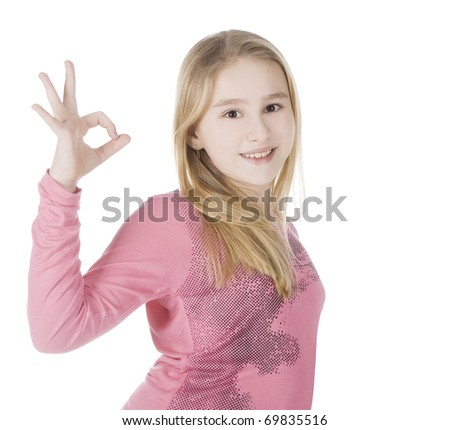 bright picture of lovely girl showing ok - stock photo