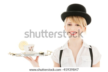 bright picture of lovely girl with cup of tea - stock photo