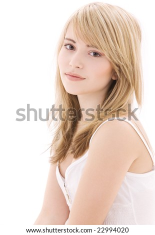 bright picture of lovely teenage girl in white cotton shirt - stock photo