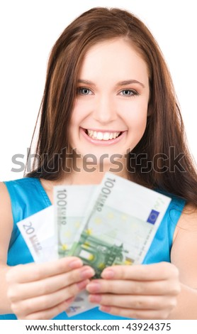 bright picture of lovely teenage girl with money - stock photo