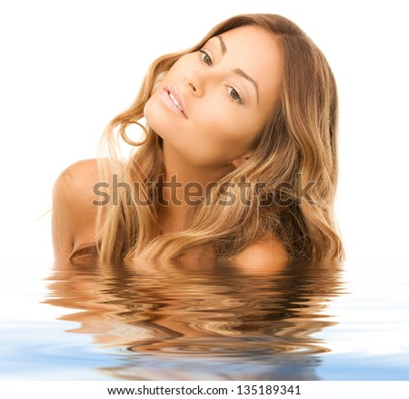 bright picture of lovely woman - stock photo