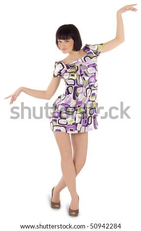 Bright picture of lovely woman in dress - stock photo