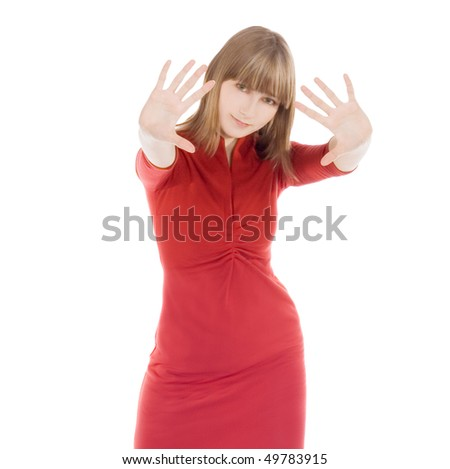 bright picture of lovely woman in red clothes showing stop sign