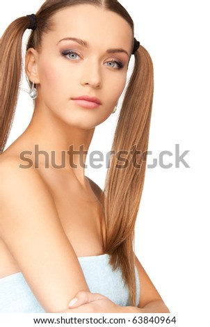 bright picture of lovely woman in towel over white - stock photo