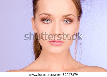 bright picture of lovely woman over blue - stock photo