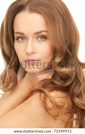 bright picture of lovely woman over white - stock photo