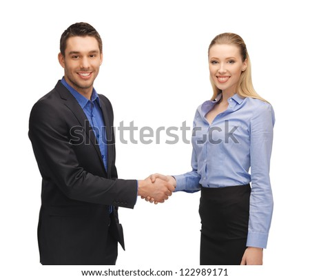 bright picture of man and woman shaking their hands.