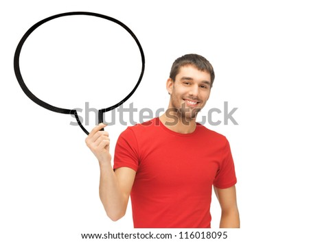 bright picture of smiling man with blank text bubble. - stock photo