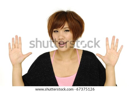 bright picture of surprised woman - stock photo