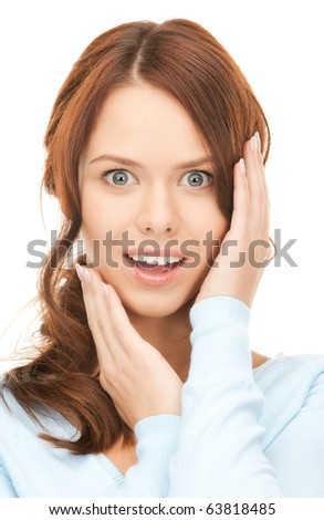 bright picture of surprised woman face over white - stock photo
