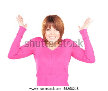 bright picture of surprised woman over white - stock photo