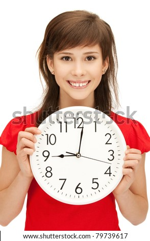 bright picture of teenage girl holding big clock - stock photo