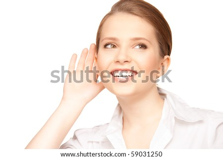 bright picture of teenage girl listening gossip