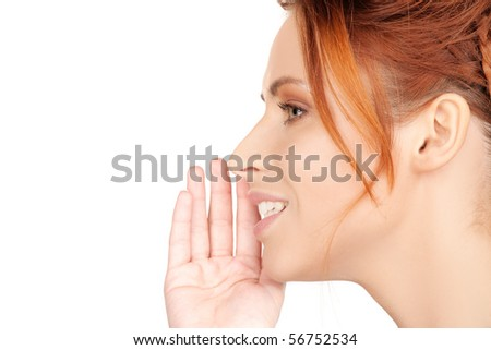 bright picture of teenage girl whispering gossip - stock photo