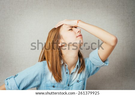 bright picture of woman with expression of surprise, gesture of bad news - stock photo