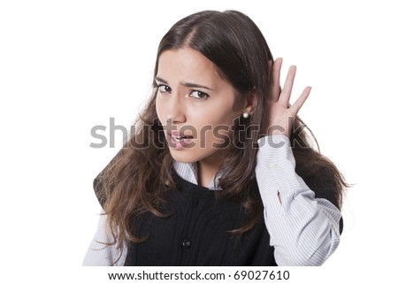 bright picture of young woman listening gossip and looking surprised