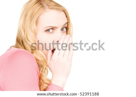 bright picture of young woman whispering gossip - stock photo