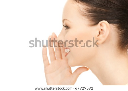 bright picture of young woman whispering gossip