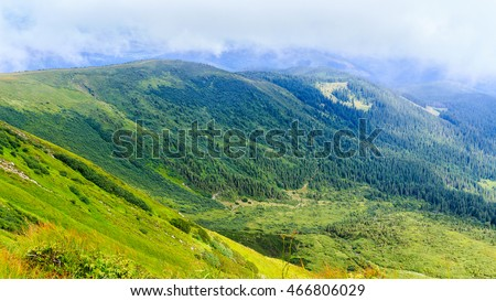 Bright picturesque Carpathian mountains landscape. Chornogora ridge, Ukraine, Europe