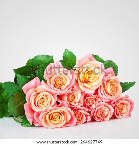 Bright pink bouquet of roses flowers - stock photo