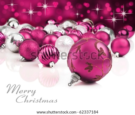 Bright pink christmas ornaments with star background