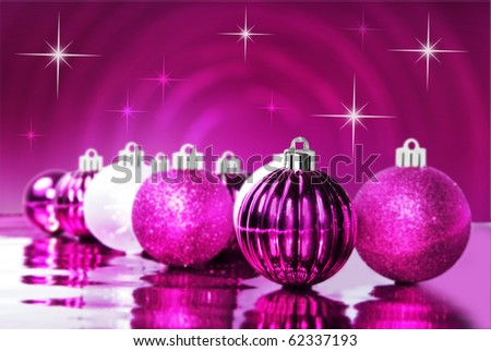 Bright pink christmas ornaments with star background - stock photo