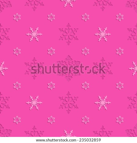 Bright pink christmas seamless pattern with openwork embossed snowflakes