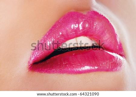 Bright pink lips - stock photo