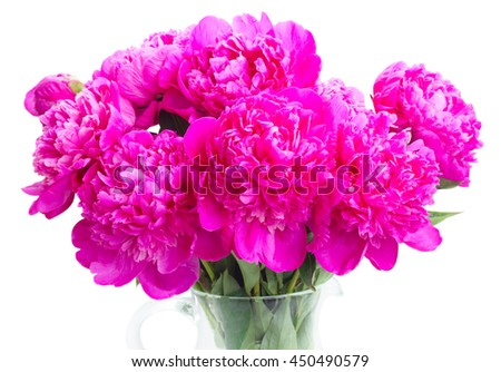 Bright pink peony flowers bouquet close up isolated on white background - stock photo