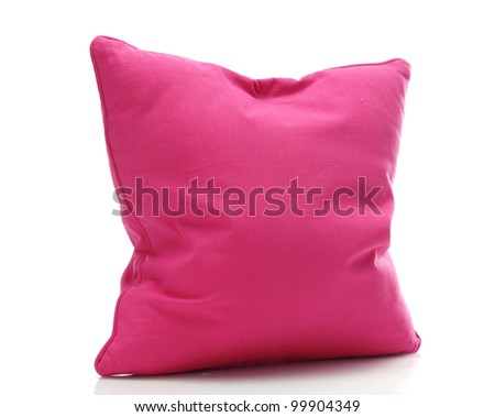 bright pink pillow isolated on white - stock photo