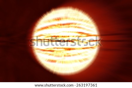 bright planet explosion flash on a red backgrounds with radial blur, illustration background  - stock photo