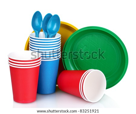 bright plastic tableware isolated on white - stock photo
