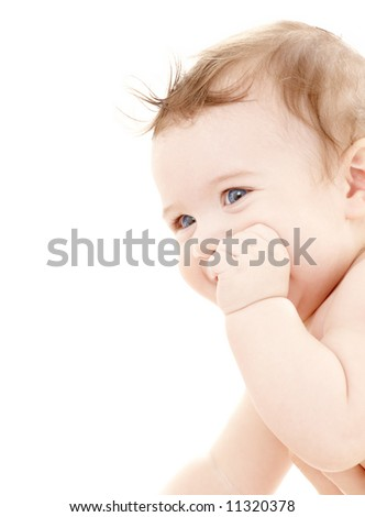 bright portrait of adorable baby over white - stock photo