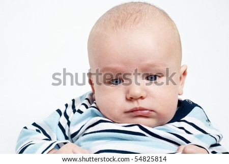bright portrait of adorable baby over white