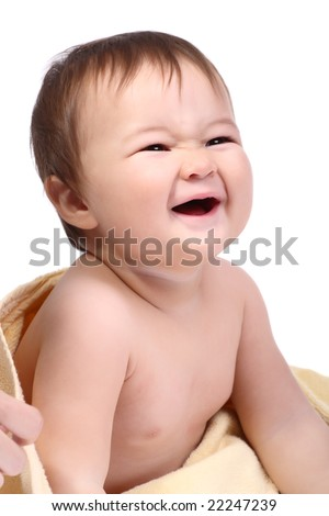 bright portrait of adorable laughing baby over white background - stock photo