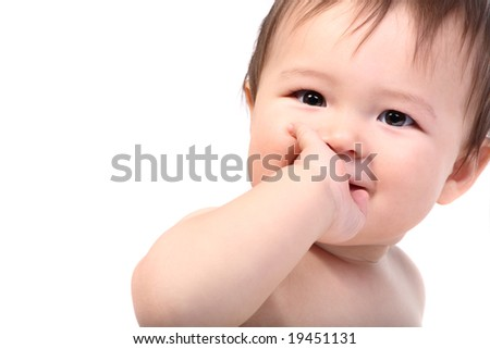 bright portrait of adorable smiling baby - stock photo