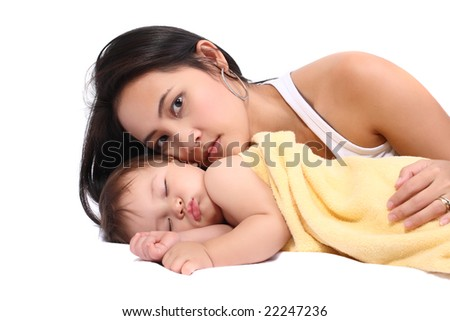 bright portrait of young mother with baby over white background
