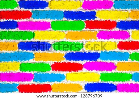 Bright positive wall of bricks