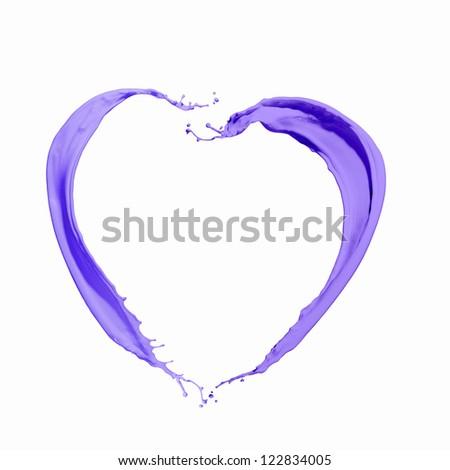 Bright purple colour paint splash on white background - stock photo