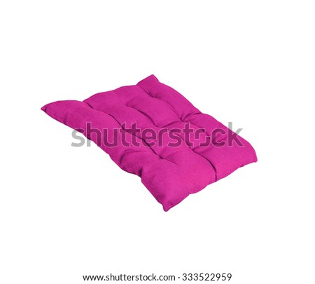 bright purple pillow isolated on white - stock photo
