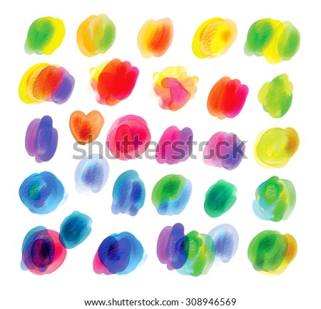 Bright rainbow colors watercolor. Blank colorful spot. Hand drawn. Isolated on white background - stock photo
