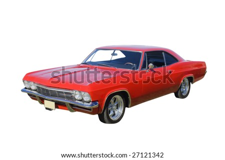 bright red American muscle car isolated on white - stock photo