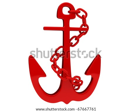 bright red anchor with a chain isolated on white background - stock photo