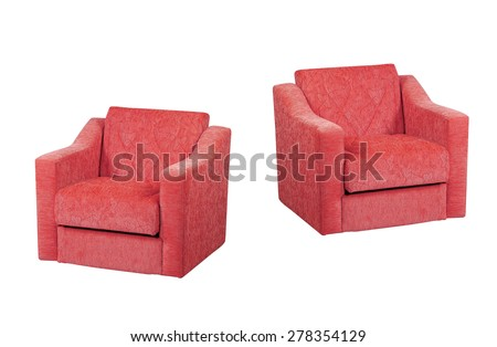 Bright Red Armchair isolated on white with a drop shadow.
