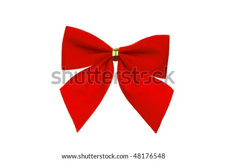 bright red bow isolated on white