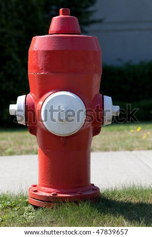 Bright red Canadian fire hydrant, photographed in British Columbia.