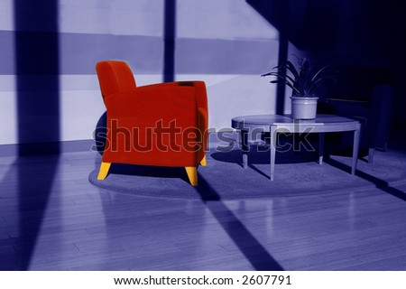 Bright red chair in sunlit room, duotone blue - stock photo